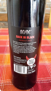 AC DC Wein kaufen, Shiraz Back in Black, hinteres Label
